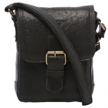 Mens Small Leather Travel Bag Black : 8684