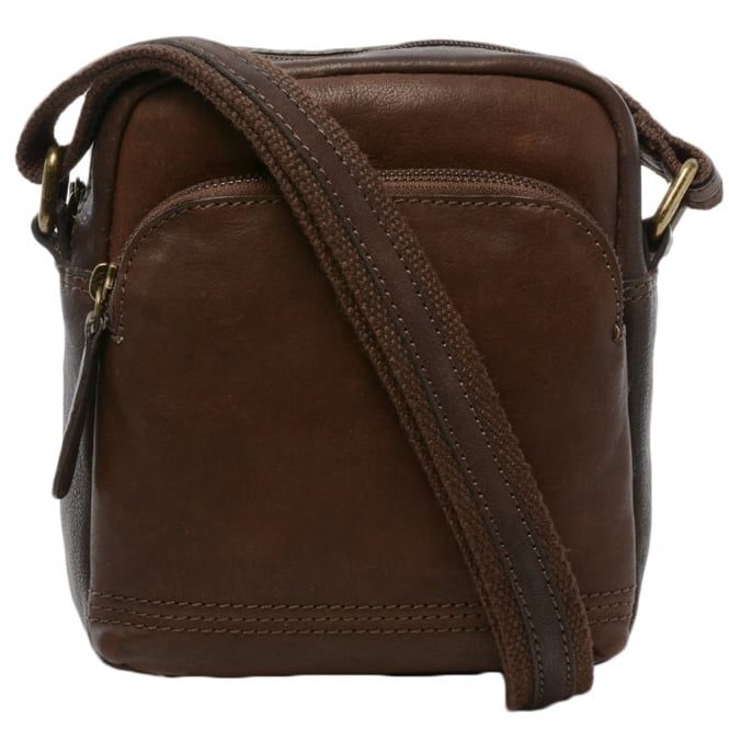 Mens Small Leather Travel Bag Brown 8681 Mens Leather Bags