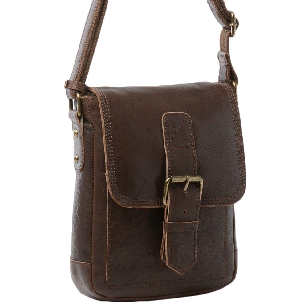 Mens Small Leather Travel Bag Brown 8684 Mens Leather Bags
