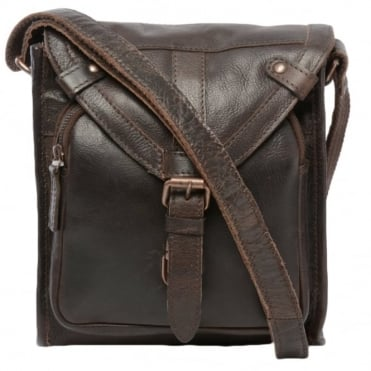 Mens Small Leather Travel Bag Brown : Plato