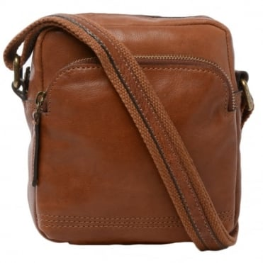 Mens Small Leather Travel Bag Tan : 8681