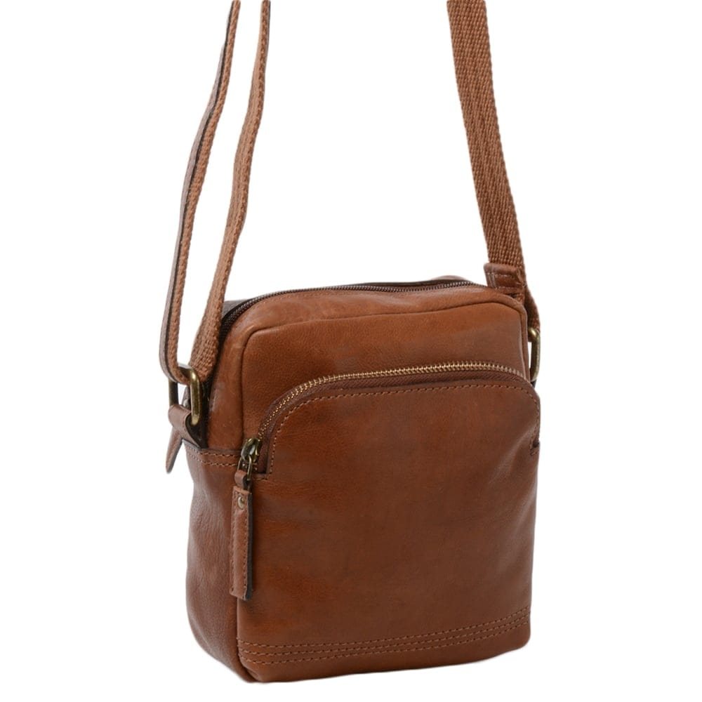 Mens Small Leather Travel Bag Tan 8681 Mens Leather Bags