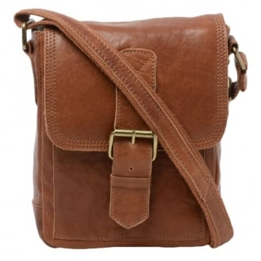 Mens Small Leather Travel Bag Tan : 8684