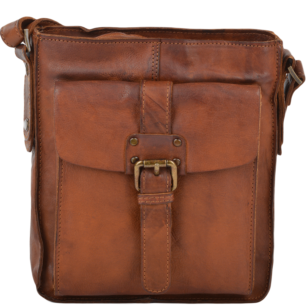 fb75cfd8dc78 Mens Small Vintage Leather Travel Bag Rust   7993