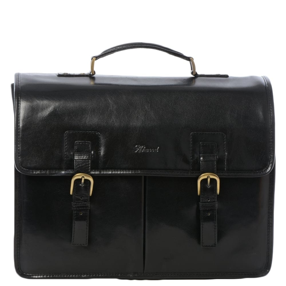 121c88bf9f3e Mens Triple Gusset Heavy Duty Leather Briefcase Black vt   Gareth
