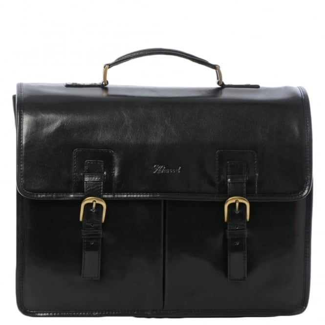 Ashwood Mens Triple Gusset Heavy Duty Leather Briefcase Black/vt : Gareth