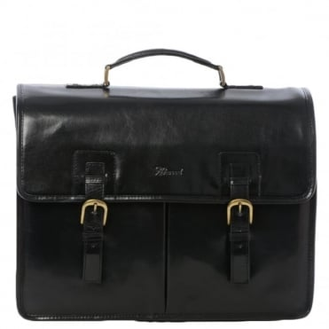 Mens Triple Gusset Heavy Duty Leather Briefcase Black/vt : Gareth