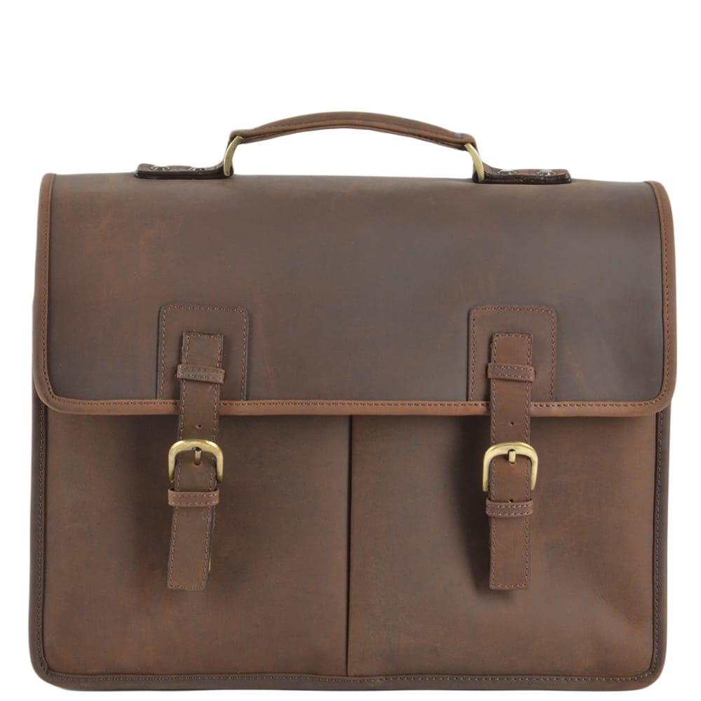 2ee28ea69dd8 Mens Triple Gusset Heavy Duty Leather Briefcase Mud/mud : Gareth