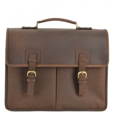 Mens Triple Gusset Heavy Duty Leather Briefcase Mud/mud : Gareth
