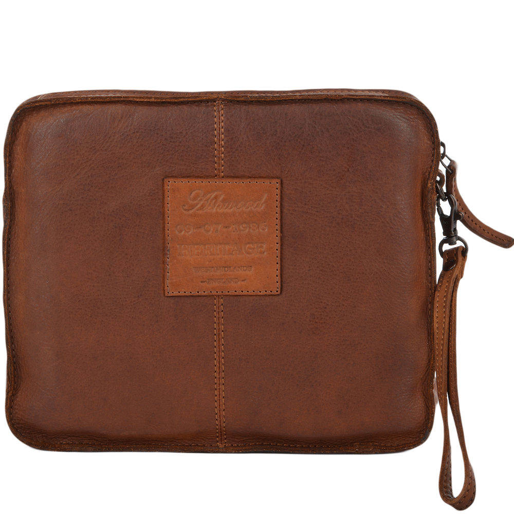 Mens Vintage Leather Tablet Sleeve Clutch Bag Rust 7991
