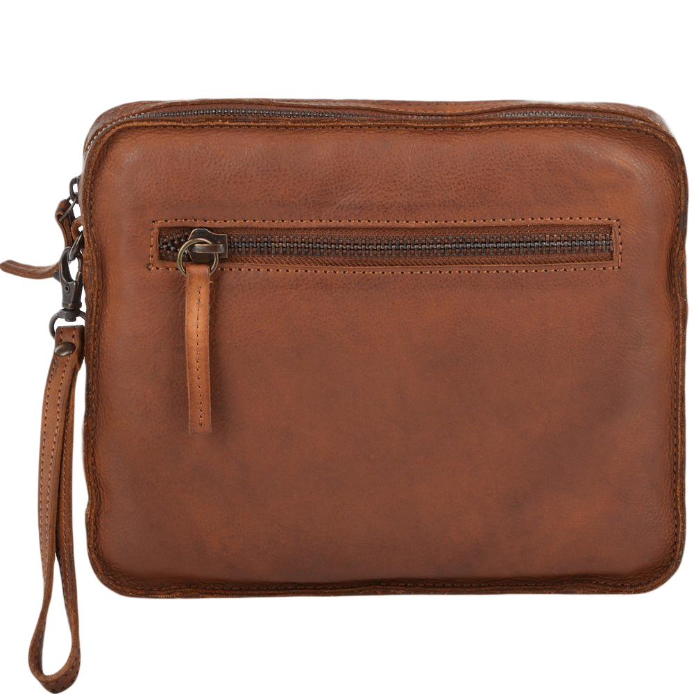 be6387c9a Mens Vintage Leather Tablet Sleeve Clutch Bag Rust : 7991