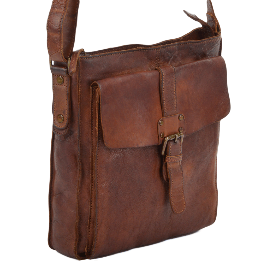 Mens Vintage Wash Leather A4 Side Bag Rust   7994 8a0f5d7e5f16b