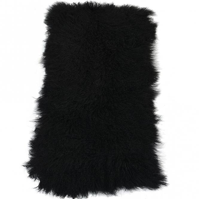 Mongolian Lamb Fur Rug Black : Curly Hair