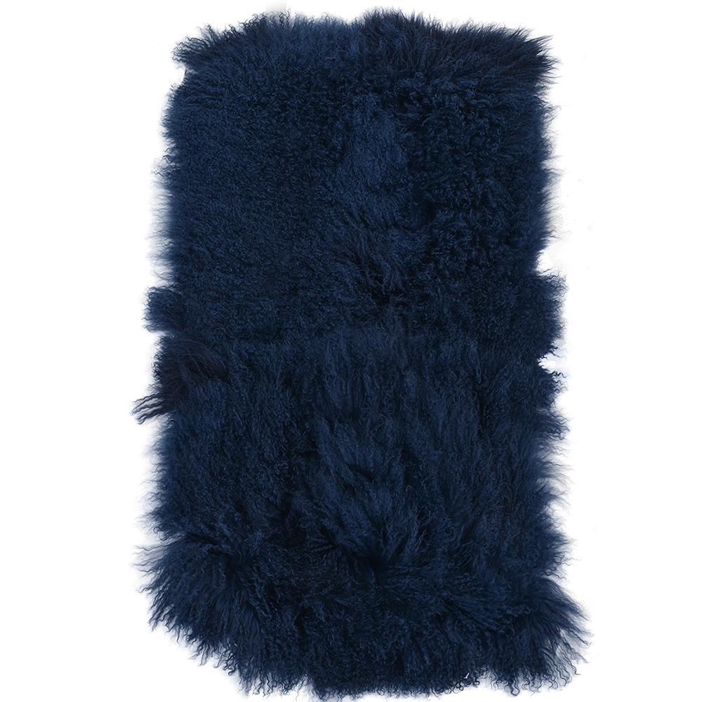 Mongolian Lamb Fur Rug Blue : Curly Hair