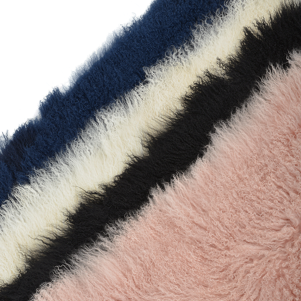 mongolian lamb fur rug blue curly hair