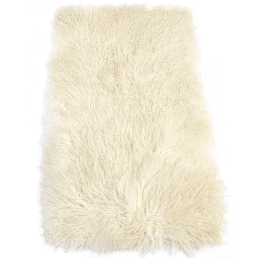 Mongolian Lamb Fur Rug Natural : Curly Hair