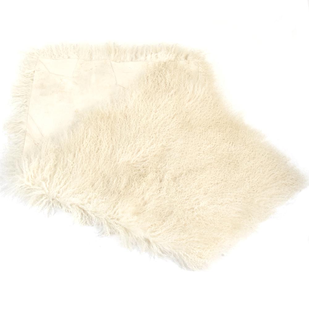 Mongolian Lamb Fur Rug Natural : Curly Hair