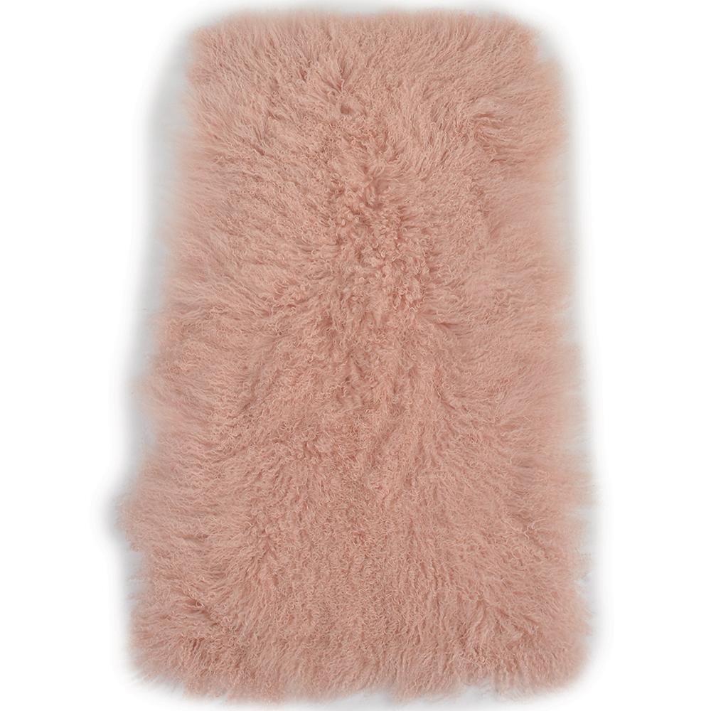 Mongolian Lamb Fur Rug Pink : Curly Hair
