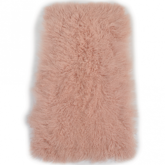 Ashwood Mongolian Lamb Fur Rug Pink : Curly Hair