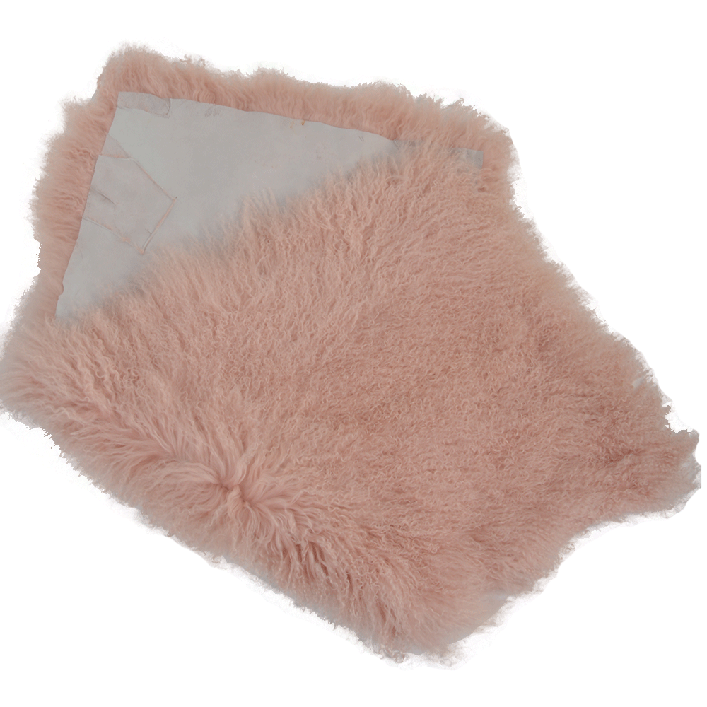 mongolian lamb fur rug pink curly hair