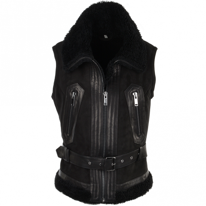 Ashwood Shearling Leather and Suede Biker Gilet Black/suede : Indiana
