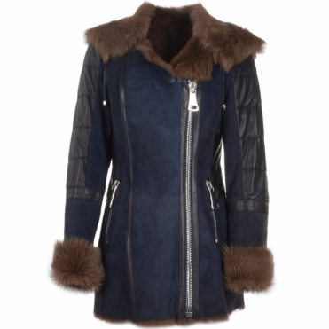 Shearling Toscana Hooded Coat Blue : Alberta Fur