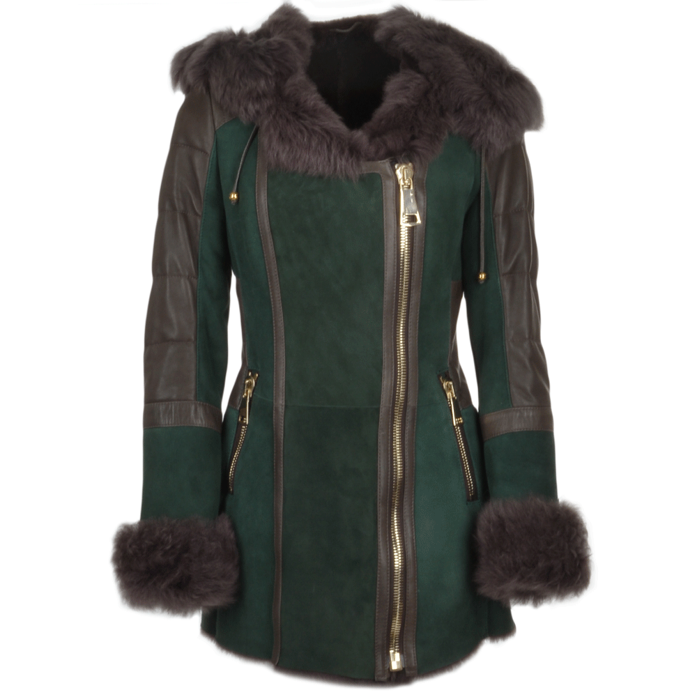 Women S Shearling Toscana Hooded Coat Green Alberta Fur