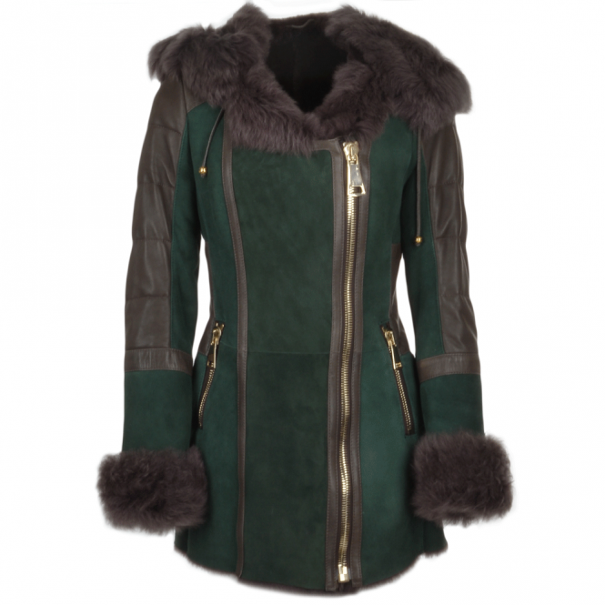 Ashwood Shearling Toscana Hooded Coat Green: Alberta Fur