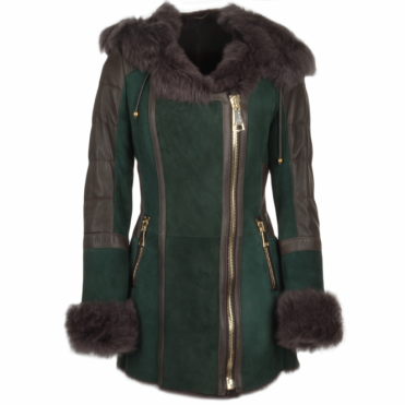 Shearling Toscana Hooded Coat Green: Alberta Fur