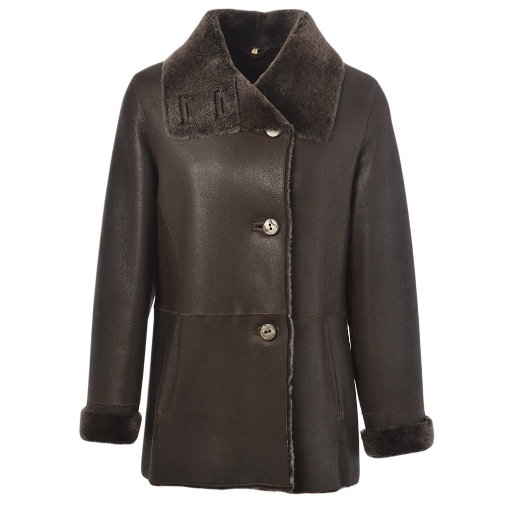 Womens Sheepskin Coat Dark Brown Anthea Womens