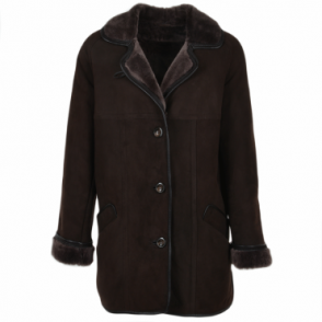 Sheepskin Coat Dark-brown : Florence