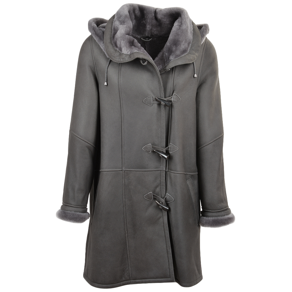 Womens Sheepskin Coat Gray   Olivia  80a34fbf2f368