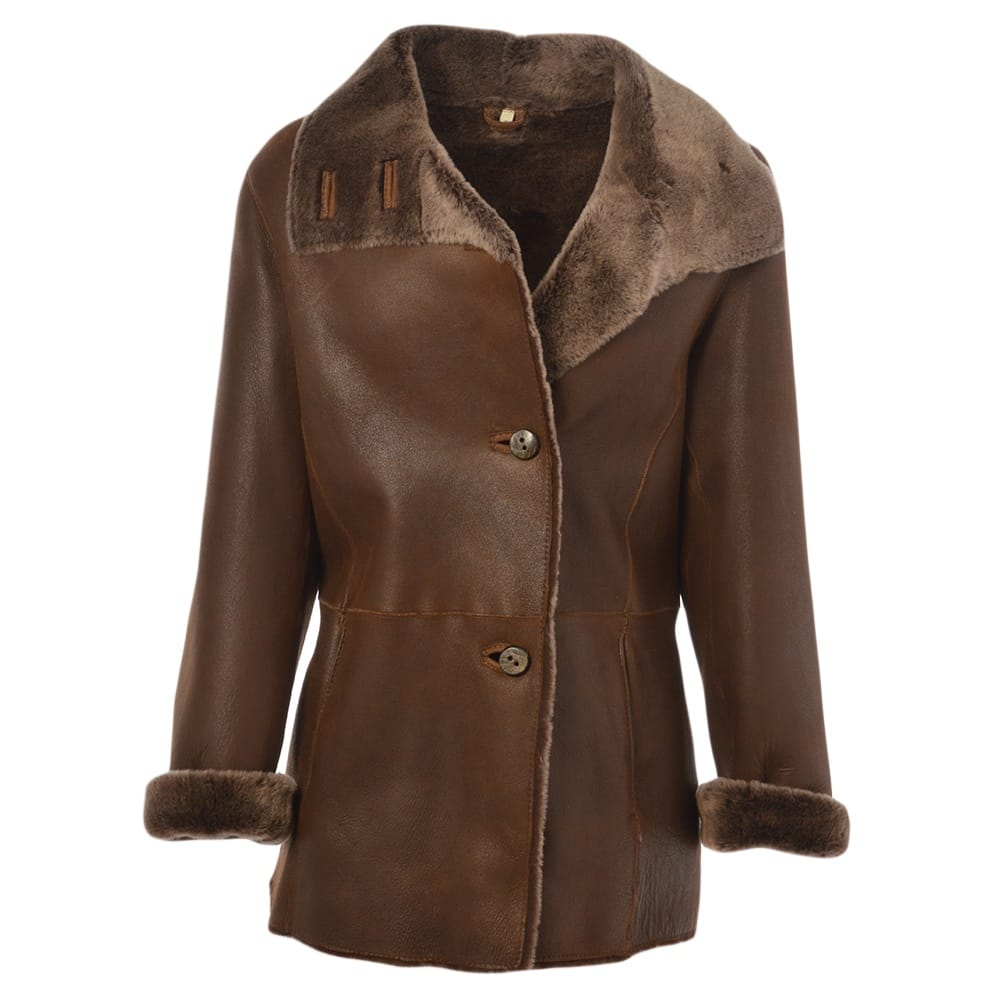 Womens Sheepskin Coat Tobacco Anthea Womens Sheepskin