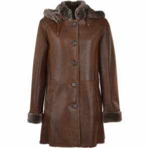 Sheepskin Duffle Coat Tobacco : Lynette