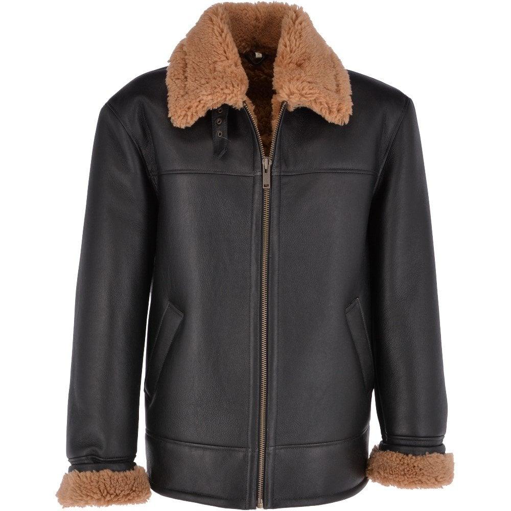 Ashwood Sheepskin Flying Jacket Black Ginger Hunter
