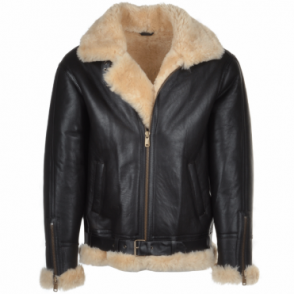 Sheepskin Flying Jacket Brown/ cream : Leo