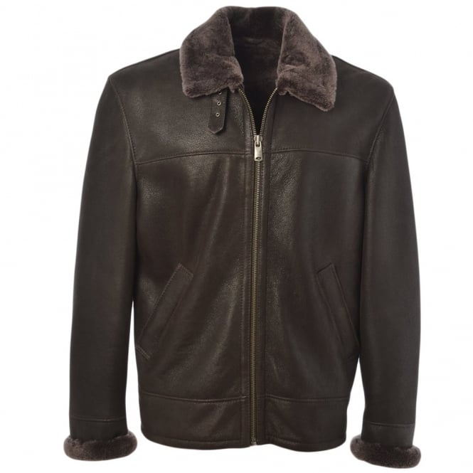 Ashwood Sheepskin Flying Jacket Mouse Cotton : Hunter