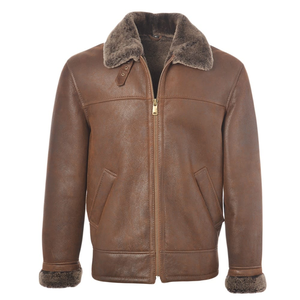Mens Sheepskin Flying Jacket Tobacco Hunter Mens