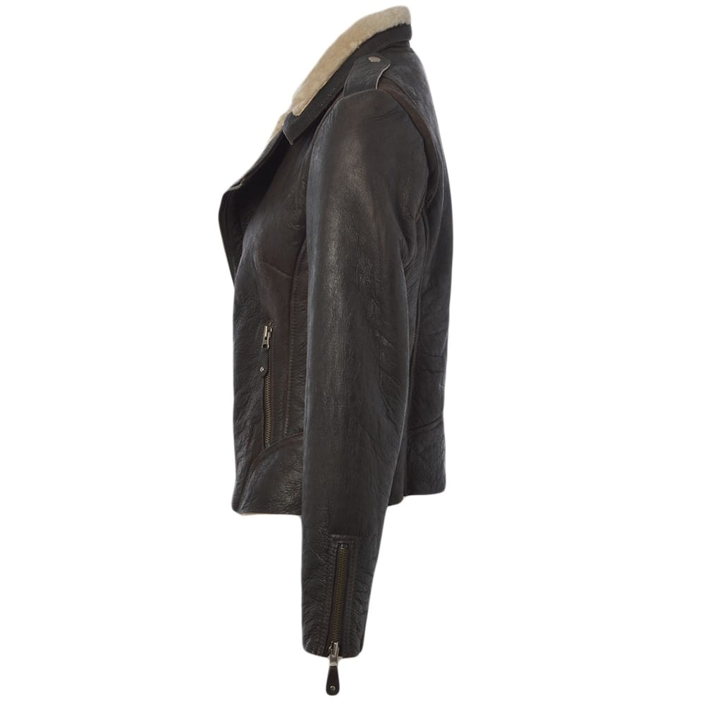 Womens Sheepskin Jacket Brown Carme Womens Leather Jackets