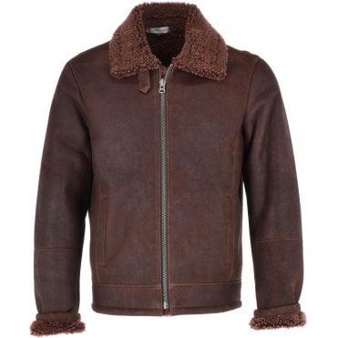 0c91c2ff5d70d Sheepskin Leather Flying Jacket Brown   Bruce