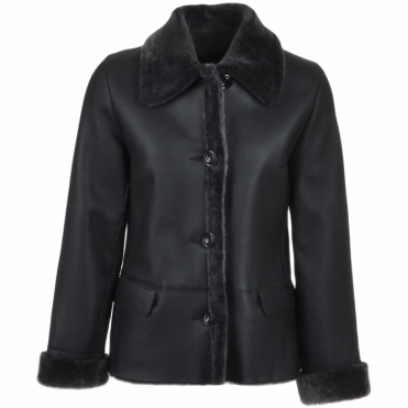 Short Shearling Jacket Black : Elissa
