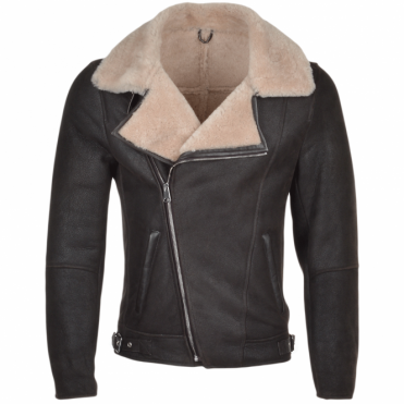 Side Zip Sheepskin Jacket : Branco