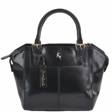 Small Buffalo Glazed Veg Tanned Leather Tote Bag Black/vt : 52216