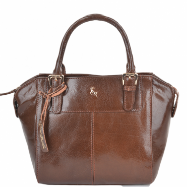 Small Buffalo Glazed Veg Tanned Leather Tote Bag Chestnut/vt : 52216