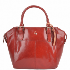 Small Buffalo Veg Tanned Leather Tote Bag Red/vt : 52216