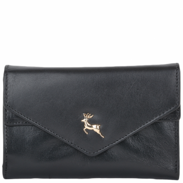Small Vegetable Tanned Leather Note And Coin Purse Black : POH-1001