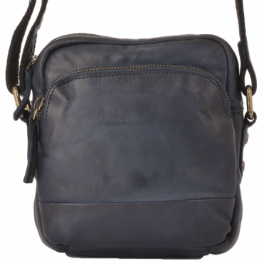 Small Vintage Wash Leather Travel Bag Navy : 1332