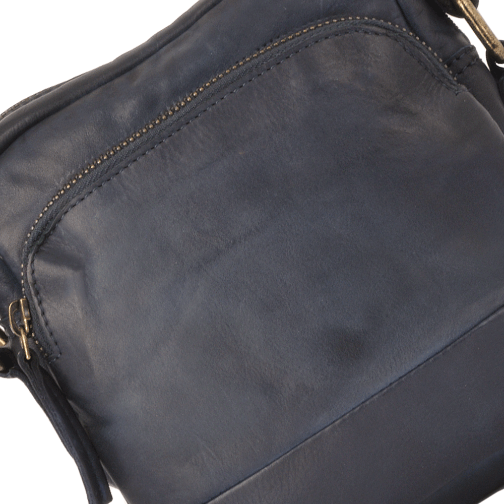 Mens Small Vintage Wash Leather Travel Bag Navy 1332