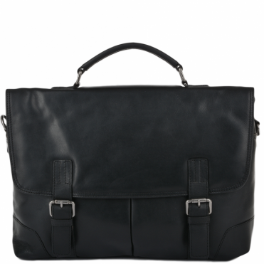 Soft Leather Handcrafted Briefcase Black : Elliot