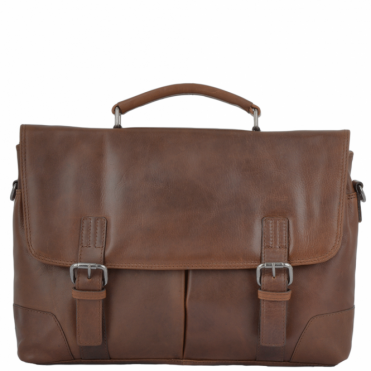 Soft Leather Handcrafted Briefcase Tan : Elliot